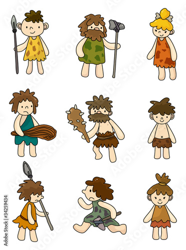 Photo  cartoon Caveman icon set,vector.