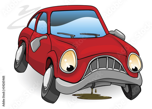 Staande foto Cartoon cars Sad broken down cartoon car