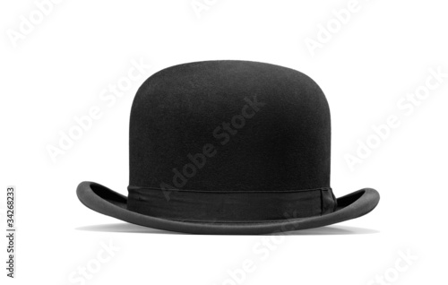 Fotografía  a bowler hat isolated on a white background