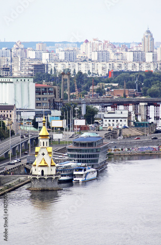 Recess Fitting City building Church on the water and Podol district in Kiev, Ukraine