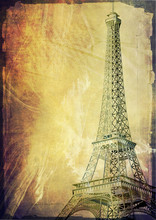 Paris Eiffel Tower Vintage Pos...