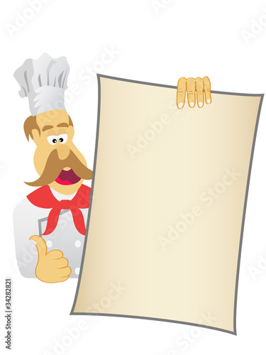 Canvas Print chef showing today's menu