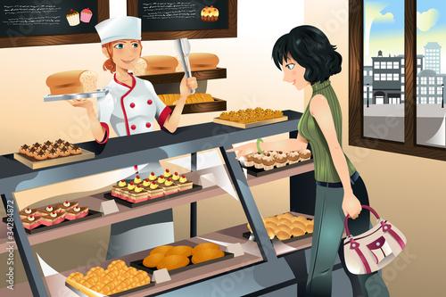 Fotografie, Obraz  Buying cake at bakery store