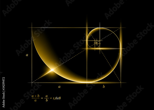 Golden section (ratio, divine proportion) and golden spiral Fototapet