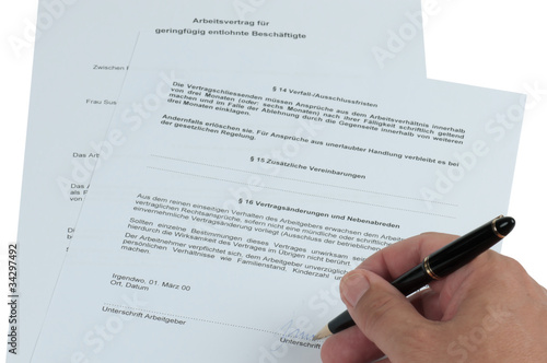 Arbeitsvertrag Geringfügig Buy This Stock Photo And