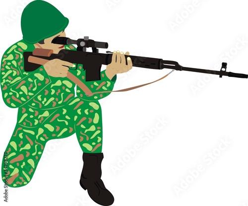 Poster Militaire Солдат с винтовкой