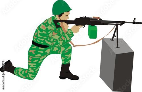 Poster Militaire Стрелок с пулеметом