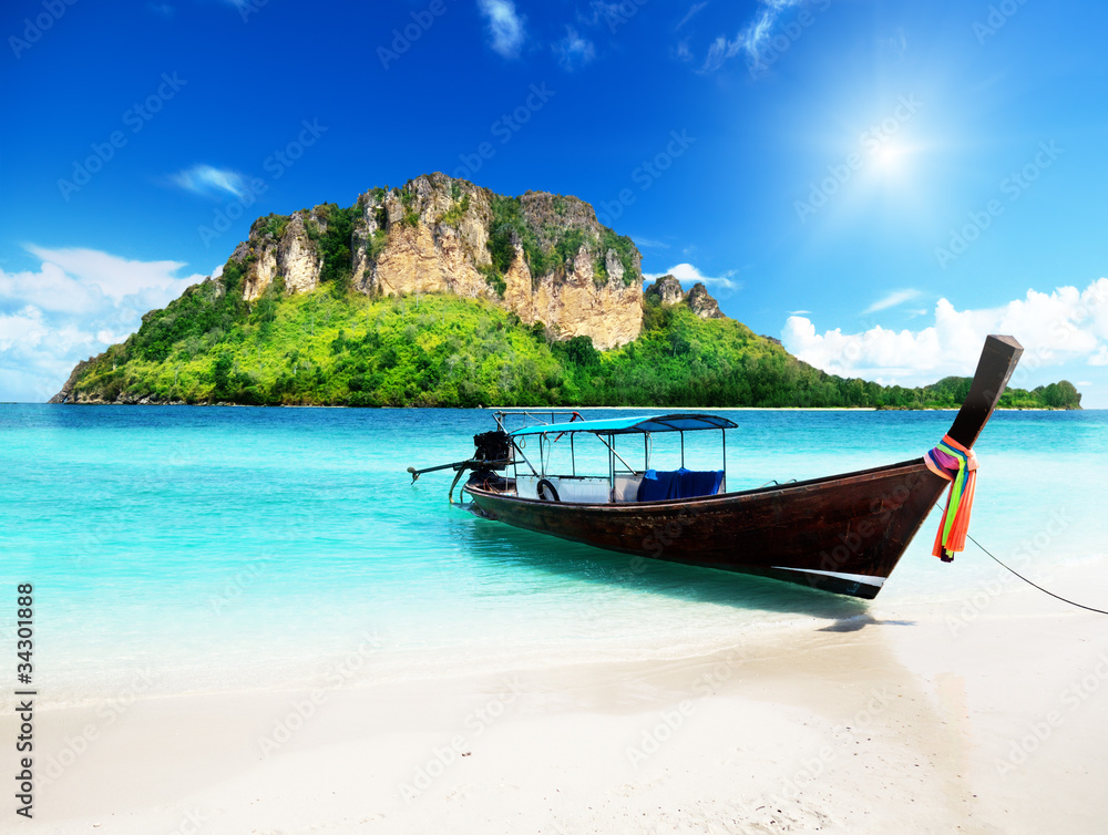 Fototapety, obrazy: long boat and poda island in Thailand