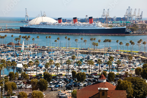 Panorama of Long Beach Harbor, California