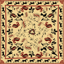 Retro Bandana Design With Horse And Bird Pattern
