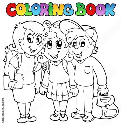 Türaufkleber Zum Malen Coloring book school cartoons 6