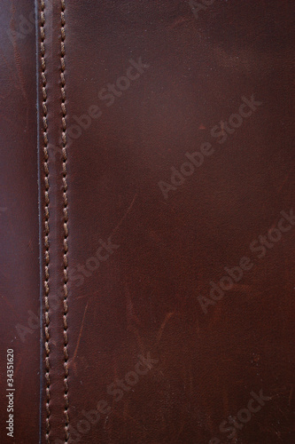 Foto op Canvas Leder Dark Brown Leather Stitching