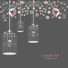 Vintage Bird Cages Design With Flowers