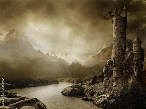 Fototapeta Krajobraz fantasy z zamkiem i smokiem obraz