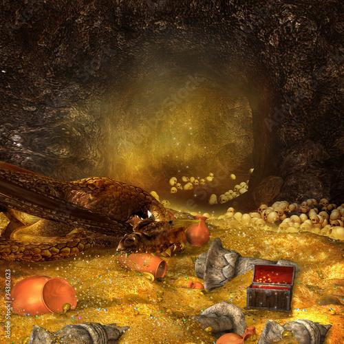 Fotografía  Smok śpiący na skarbie w jaskini