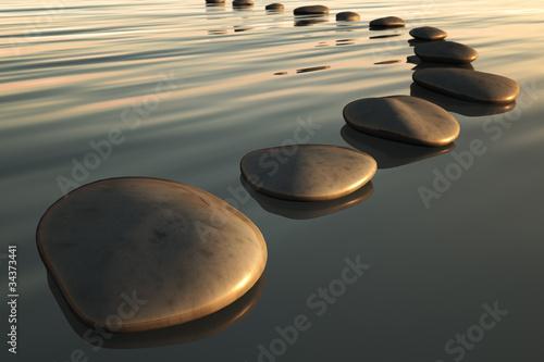 Doppelrollo mit Motiv - step stones sunset