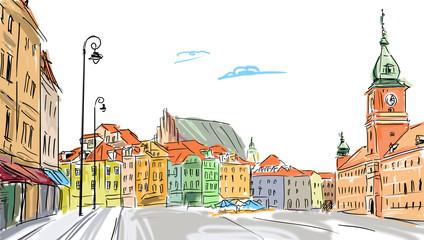 Panel Szklany Architektura Warsaw - old town