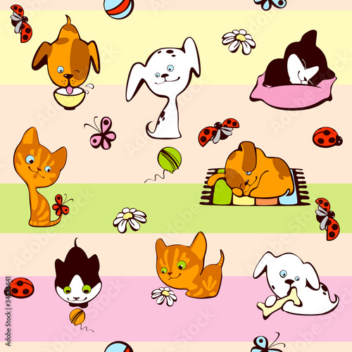Poster de jardin Chats children's wallpaper. pets background