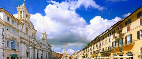 Photo  Navona Square, centre of  Rome, Italy.