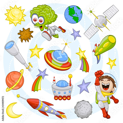 Spoed Foto op Canvas Kosmos Cartoon outer space set