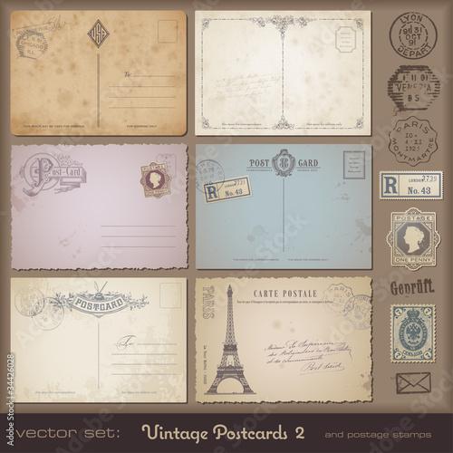 Fotografia  Antique postcards 2 - set of 6 vintage postcards plus stamps