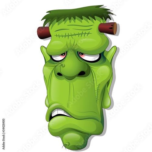 Recess Fitting Draw Frankenstein Halloween Cartoon Monster Head-Vector