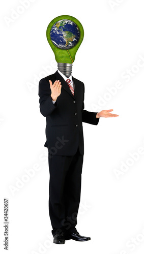 Photographie  full length business male with lamp-head in suit