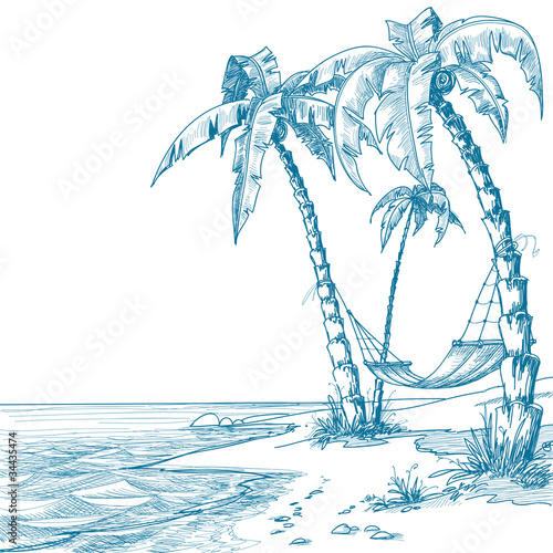 Tropical beach with palm trees and hammock #34435474