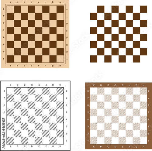 Fényképezés Chess board set vector illustration