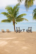 tropical island with empty chairs