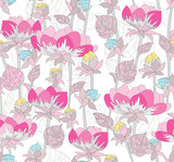 Seamless pink floral pattern. Background with flowers