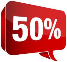 """Red Speech Bubble """"50%"""""""