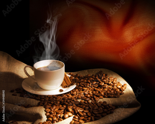 Wall Murals Cafe Steaming cup of coffee