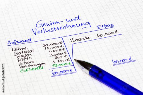 Gewinn- und Verlustrechnung - Buy this stock photo and explore ...