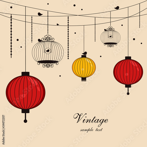 hanging lanterns and birdcages with space for text Canvas Print