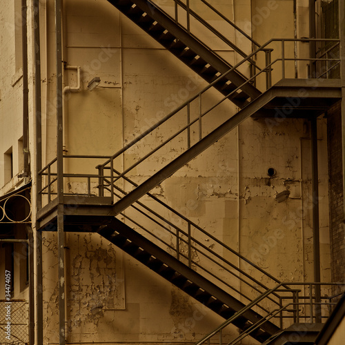 Fire escape stairs, architecture Fototapet