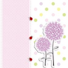 Card Design Purple Flower,ladybird On Polka Dot Background