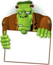 Frankenstein Halloween Cartoon Monster Sfondo Background-Vector