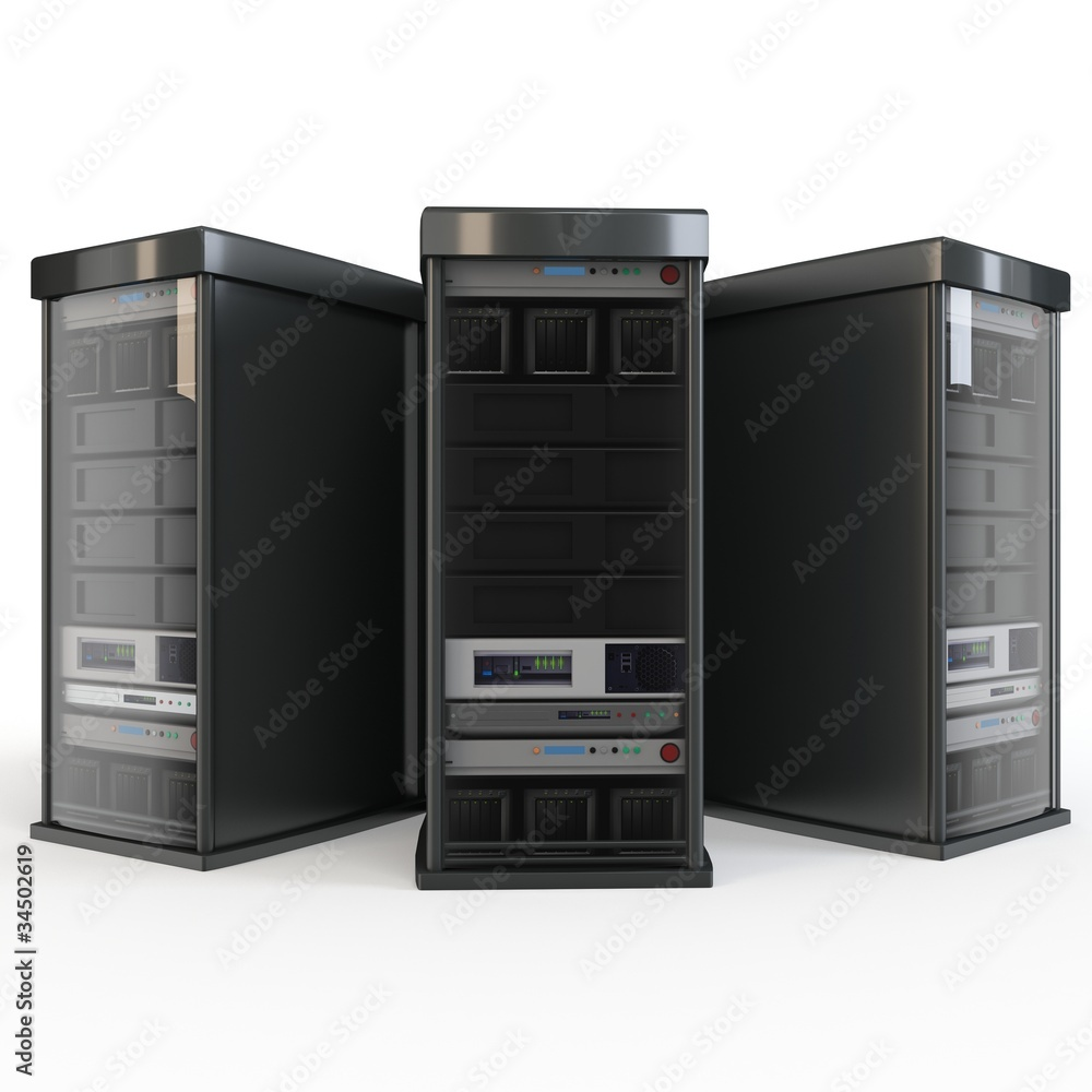 Fototapeta 3d row of server racks