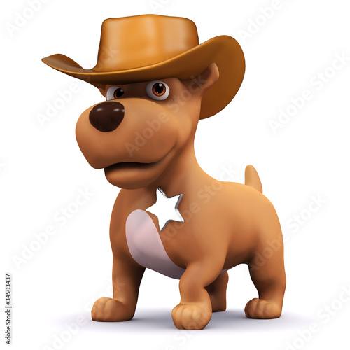 Aluminium Prints Wild West 3d Dog is the sheriff of the town