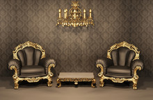 Armchairs With Gold Frame In O...