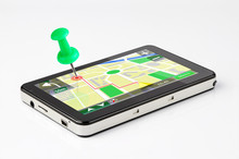 Travel Destination, Green Pin Stuck In A GPS Device