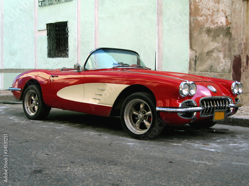 Stickers pour portes Voitures de Cuba Old sport car in Havana