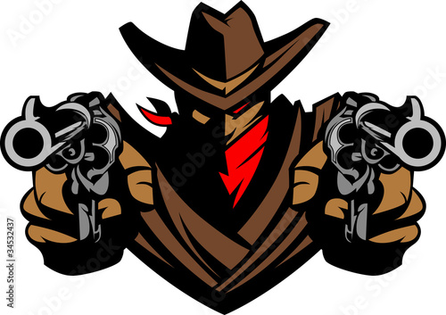 Photo  Cowboy Mascot Aiming Guns