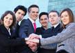 Business team over modern background