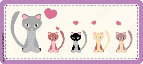 Printed kitchen splashbacks Cats Cat with kittens