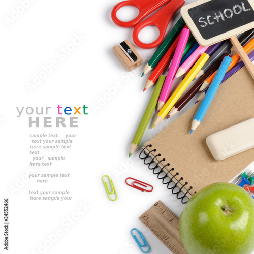 Fotografía  School stationery isolated over white with copyspace
