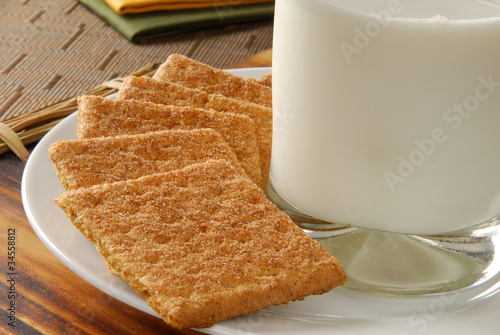 Fotografie, Obraz  Closeup of cinnamon sprinkled graham crackers