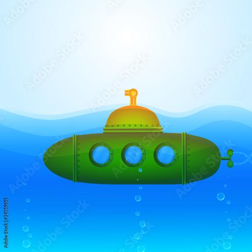 Láminas  Beautiful Vector Submarine Illustration