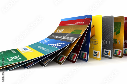 Fototapeta Falling credit cards - debt concept obraz